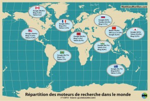 Répartition des moteurs de recherche dans le monde en 2013